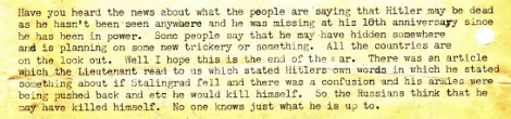 In his February 7, 1943 letter, Stanley relays rumors about Hitler's death and his hopes that the war will end soon.