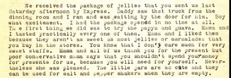 Anna describes the scene when a package of jellies that Dad sent from Miami Beach was delivered to the house.