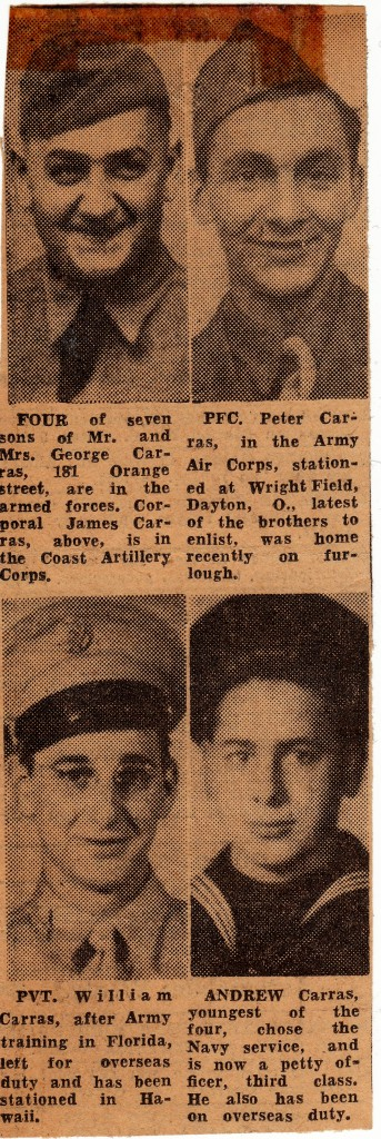 A clipping that Stanley passed along to Dad about the Carras brothers who lived on the same street as them in Albany. Four of the seven brothers in the family were in the service as of February 1943.