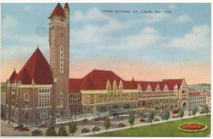 Union Station in St. Louis circa 1940s. Fortunately the facade of the station has been preserved throughout the years.