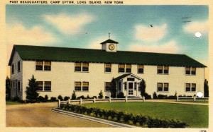 A image of the Headquarters Building at Camp Upton on Long Island, NY taken form the front of a postcard sent home. Camp Upton is where my father's experience in the Army began in January of 1943.