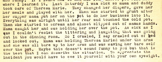 In an excerpt from her February 1, 1943 letter, Anna details to Dad the scene when their parents were left watching the baby.