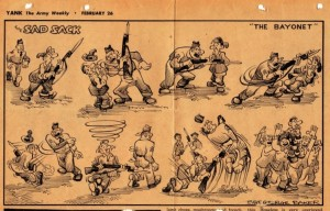 Sad Sack cartoon on bayonet practice published in Yank on January 26, 1943