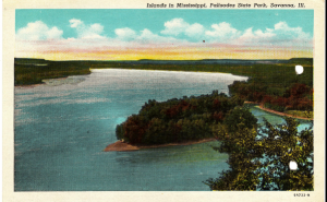Post Card image of the Mississippi River from Palisades State Park in Savanna, Illinois just south of the base where Dad was stationed.