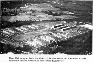 An undated aerial view of the barracks at Ft. Monmouth NJ. Image credit U.S. Army Signal Corps OCS Association (www.armysignalocs.com)