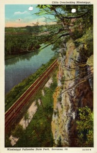 Post card image of cliffs overlooking the Mississippi at Mississippi Palisades State Park near Savanna, Illinois.