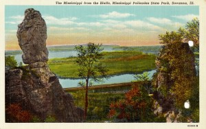 Post card image of the Mississippi River from the Bluffs at Mississippi Palisades State Park near Savanna, Illinois.