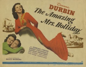 Poster art for The Amazing Mrs. Holliday starring Deanna Durbin