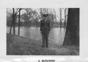 PFC Anthony Murawski by the Apple River at the Savanna Section Ordnance School, Savanna, Illinois.