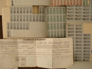 A typical ration book and stamps from WWII.