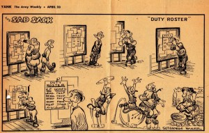 A clipping of a Sad Sack cartoon from Yank magazine that Dad enclosed with his letter of May 1 & 2, 1943.
