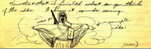 Stanley's drawing of the military sky suit that he proposes in his May 2, 1943 letter to his brother Anthony.