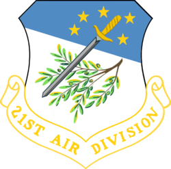 Insignia of the 21st Air Division, originally the 21st Bombardment Wing. The 21st has been activated and deactivated numerous times over the years.