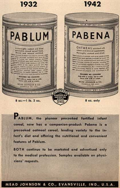 A 1940's era ad for Pablum, one of the first precooked baby foods ever to hit the market.