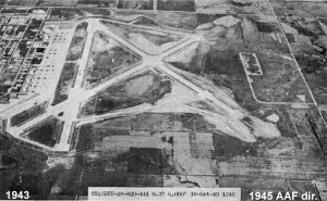 An aerial view of Topeka Army Airfield taken in October, 1943. The facility now houses Topeka Regional Airport. Until 1973 it was known as Forbes Field. The Kansas Air National Guard and the 190th Air Refueling Wing still maintain facilities here. Image credit: Wikipedia