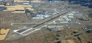 A 2012 aerial view of Spokane International Airport. During the war years, this location was home to Geiger Field. To this day, the three letter indicator for this airport is GEG.