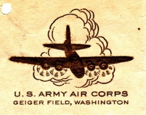 Letterhead from Geiger Field featuring an embossed image of a B-17.