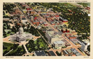 Post card that was sent home in Dad's letter dated June 2, 1943 showing an aerial view of Topeka Kansas.