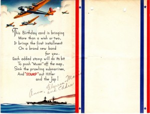 "Inside of the card sent by Anna. Note the B-17s and what would today be considered ""politically incorrect"" language in reference to the Japanese leader."