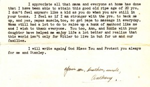 """Excerpt from Dad's letter home to his family written on his 20th birthday where he shares credit for reaching the """"ripe old age of 20"""""""