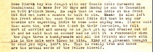 Excerpt from Anna's letter of July 2, 1943 relaying the experiences of a neighbor who was at Guadalcanal.