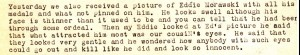 Paragraph from Ann's July 3, 1943 letter about a picture of their cousin Eddie Morawski who was awarded the Purple Heart for injuries sustained at Guadalcanal.