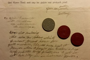 The sign-off and P.S. from Dad's letter dated July 2, 1943. Along with the letter he sent home sales tax tokens from Colorado and Utah.