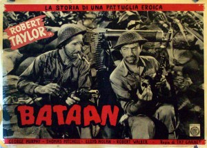Lobby Card for the 1943 movie Bataan starring Robert Taylor. This movie is not to be confused with 1945's Back to Bataan with John Wayne. image credit : www.benitomovieposters.com