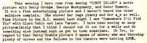 Excerpt from Dad's letter dated July 7, 1943 detailing a few of the movies that he saw at the GI Theater on base at Topeka Army Air Field.