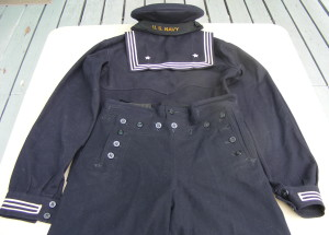 "A vintage US Navy ""crackerjack"" uniform showing the 13 button front flap. Image credit: Imperial Antiques"