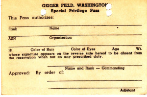 The front of a blank pass from Geiger Field.