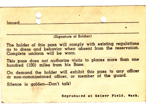 The back of the Gieger Field pass.