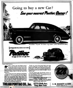 An advertisement for Trojan Pontiac from the May 5, 1941 edition of the Troy Times Record. Uncle Eddie worked here during the war years.