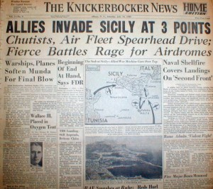 A local Albany newspaper headline about the invasion of Sicily.