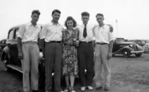 "An undated pre-war photo. L-R: Anthony Murawski, Edward Lubinski, Anna Lubinski (nee Murawski), unknown, Stanley Murawski. Given that this photo is undated I am not sure if Anna and Eddie are married at this time. Anna recalls in her letter ""how we three used to play""."