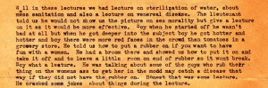 In an excerpt from a letter from Great Falls Montana, dated July 19, 1943, Uncle Stanley details a training lecture that was given on the base.