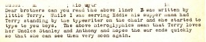 In an excerpt from a letter to Dad, baby Terry gets her hands on the typewriter and sends a little message to her uncles.
