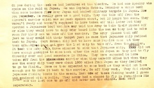 Stanley's account of a lecture given by one of the Doolittle Raiders about the historic Raid on Tokyo.