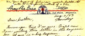 Cut Bank Letterhead from Stanley's letter to Dad dated August 2, 1943.