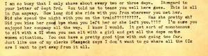 In an excerpt from uncle Stanley's letter to his brother (my dad) he teases him like only a brother could about his sitting next to a girl on the train home during his recent furlough.
