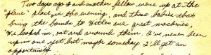 An excerpt from Dad's letter dated September 1, 1943 in which he describes getting a close up look at some of the bombers stationed on the base.