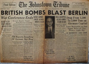 The front page of the Johnstown Tribune on August 24, 1943 reporting on the bombing of Berlin