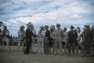 Photo of the officers of the 401st being inducted into the Blackfoot Indian Nation. Image courtesy of Roger Freemen Collection, American Air Museum in Britain. http://www.americanairmuseum.com/media/4278