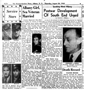Clipping from the Knickerbocker News dated August 24, 1943 about the Vettese - DeCaro wedding (credit www.fultonhistory.com)