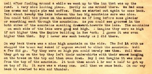 An excrpt from Stanley letter to Dad dated August 22,1943 in which he describes atrip to Glacier National Park