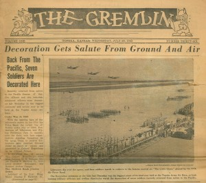 The front page of The Gremlin, the official newspaper of the Topeka Army Air Base. Dated July 28, 1943, this issue details ceremonies honoring seven fliers upon their return from the Pacific.