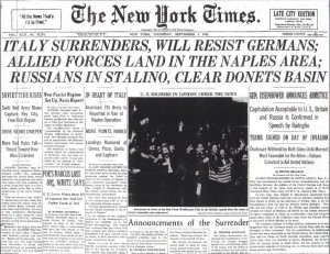 New York Times front page of September 9, 1943 with the news of the surrender of Italy.