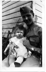 A picture of Dad with his niece Terry taken while he was home on furlough in the beginning of August 1943.
