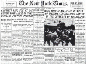 The New York Times headline about the September 6, 1943 crash of the Congressional Limited in Philadelphia.