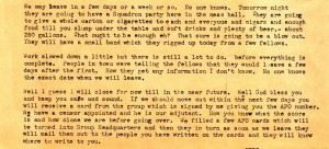 In an excerpt from Stanley's letter of September 26, 1943, he details some of the preparations underway before his deployment overseas.